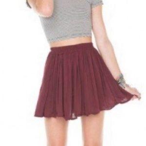 Brandy melville burgundy flowy skirt